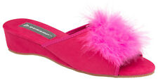 Ladies Dunlop Womens Pom Pom Fur Boa Feather Faux Suede Slippers Wedge Mule