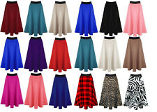 New Women Ladies Mid Length Viscose Stretchy Flared Skater Swing Long Midi Skirt
