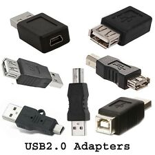 USB Adapter Male Female Type A B Mini Plug Coupler Gender Changer USB2.0 Adaptor