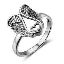 925 Sterling Silver Cute Heart with Angel Wings Ladies' Ring Size 6-8
