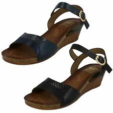 Ladies Down To Earth Ankle Strap With Buckle Mid Wedge Mule Sandals F1R0682
