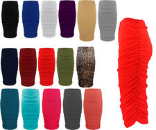 Womens Midi Length Skirt Ladies Bodycon Plain Stretchy Side Ruched Pencil Tube