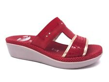 ROBERT 416163 ROSSO CIABATTE DONNA MADE IN ITALY SOTTOPIEDE VERA PELLE IN MICROF