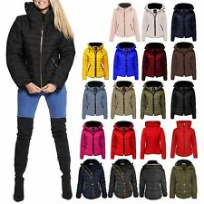 New Womens Quilted Puffer Bubble Padded Jacket Fur Collar Gold ZipUp Warm Coat