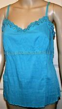 MARKS & SPENCER M&S BLUE CRINKLE COTTON CAMISOLE TOP SIZES 12 16 18 22  # 378