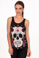Gothic Punk Mexican Sugar Candy Skull Red Corset Back Vest Top By Banned Apparel