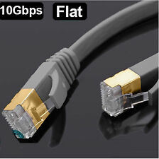 RJ45 CAT7 RED LAN ETHERNET SSTP 10gbps Gigabit Parche Cable plano 1m-5m LOTE