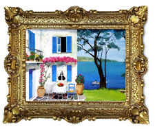 Beautiful Painting Pictures Baroque Antique Repro Frame House by the Sea 56x46