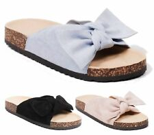 LADIES SLIP ON FLAT RUBBER GRIP SOLE MULES SANDALS PEEP TOE BEACH SHOES SLIPPERS