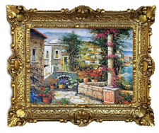 Beautiful Painting Pictures Baroque Antique Repro Frame House at the Lake