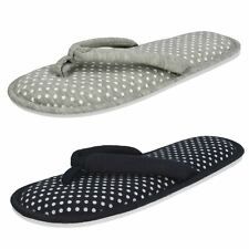 Ladies Spot On Polka Dot Slip On Toe post Textile Mule Slippers - X2100