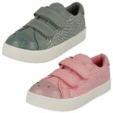 Infant Girls Clarks Hook & Loop Riptape Flashing Lights Canvas Shoes Pattie Lola