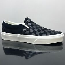 VANS CLASSIC SLIP ON CHECKER EMBOSS BLACK MARSHMALLOW TRUE WHITE TRAINERS