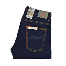 Nudie Jeans, stretto Terry, asciugare Twill, blu scuro, 112455, ANTI FIT , NUOVO