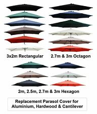 2m 2.5m 2.7m 3m 3x2m Replacement Fabric Garden Parasol Canopy Cover 6 or 8 Arm