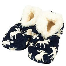 LazyOne Mens Classic Moose Blue Fuzzy Feet Slippers Adult