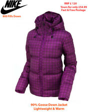 Ladies NIKE SWOOSH Goose Down Padded Jacket Purple check Winter Coat Hooded M-XL