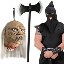 BOIA MASCHERA ASCIA E Decapitated Testa COSTUME NERO HALLOWEEN MEDIEVALE