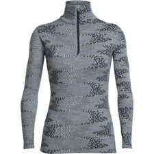 Icebreaker Vertex Ls Half Zip Flurry Womens Base Layer Top - Bizzard Heather Jet