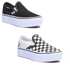 Vans Checkerboard Classic Slip On Platform Women Canvas Black White Trainers