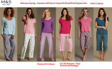 M&S Marks Spencer Ladies Cotton Pink Green Purple PYJAMA SET PJs loungewear 8-22