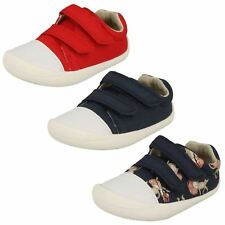Infant Toddler Baby Boys Clarks Hook & Loop Washable Canvas Shoes Tiny Pebble