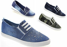 donna sneakers scarpe basse scarpe casual Destroyed suola a zeppa jeans