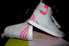 Adidas Neo Women Grey Pink white Mid Top Suede Leather Trainers boots Shoes 4-8