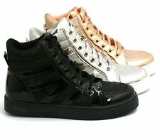 NEW WOMENS LADIES GIRLS FLAT LACE UP HIGH HI TOP TRAINER BOOTS SHOES SIZE 3-8