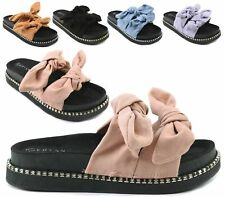 LADIES SUMMER SLIP ON KNOTTED UPPER FOOTBED COMFY LOW WEDGE MULE SANDALS SLIPPER