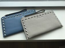 MICHAEL MICHAEL KORS BEDFORD STUDDED LARGE LEATHER ZIP CLUTCH SKY CEMENT