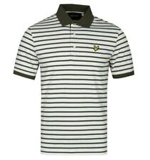 Lyle & Scott Olive Green Breton Stripe Polo Shirt