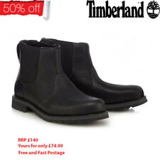 Mens Timberland Larchmont Chelsea Shoes Leather Black A12F4 Boots 7 to 11.5