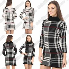 New Ladies Checked Knit Cowl Polo Neck Bodycon LongSleeve Jumper Dress Tunic Top