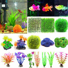 gazon artificiel corail Gass plantes d'eau Décoration Aquarium Poisson