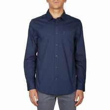 Volcom Everett Solid Hommes Chemise - Navy Toutes Tailles
