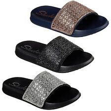 Skechers 2nd Take Summer Chic Slides Summer Fabric Sandals Flip Flops Womens