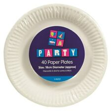 40pk White Round Disposable Paper Plates 18cm Catering Birthday-Party Tableware
