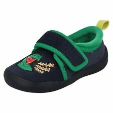 Boys Clarks Dinosaur Themed Machine Washable Textile Slippers Cuba Stompo
