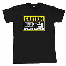 Caution, Angry Gamer, Mens Funny Video Game T Shirt, Gift
