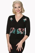 Black Vintage Retro Rockabilly Pin Up Floral Flamingo Cardigan By Banned Apparel