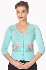 Blue Vintage Retro Rockabilly Pin Up Floral Flamingo Cardigan By Banned Apparel