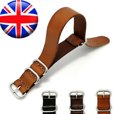 For Nato ZULU Watch Strap Genuine Leather 18mm 20mm 22mm Wristwatch Band Belt