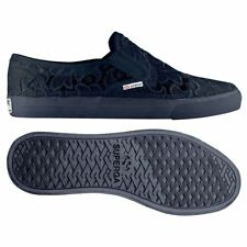 SUPERGA 2311 Slip on casual DONNA MACRAMEW mocassini PIZZO macrame Blu NEW 081hh