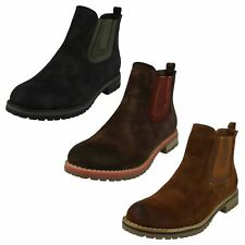 Ladies Down To Earth Flat Low Block Heel Slip On Chelsea Ankle Boots F5R0566