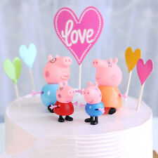 Set 4 Pig Cake Toppers Plastic Figures Birthday Peppa & George Daddy Mummy Pig