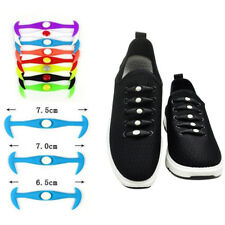 Boy Girls Color Elastic Silicone No Tie Shoelaces Sneakers Shoe Lace Adults Kids