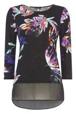 NUEVO ROMAN ORIGINALS 3/4 Manga Tropical Estampado de Palmeras Blusa Top Talla