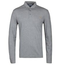 Farah Stapleton Silver Grey Marl Long Sleeve Polo Shirt