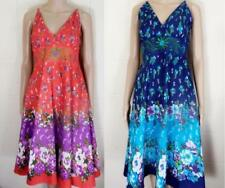PISTACHIO RED OR BLUE FLORAL CASUAL BEACH SUMMER DRESS 10/12 12/14 14/16 #44